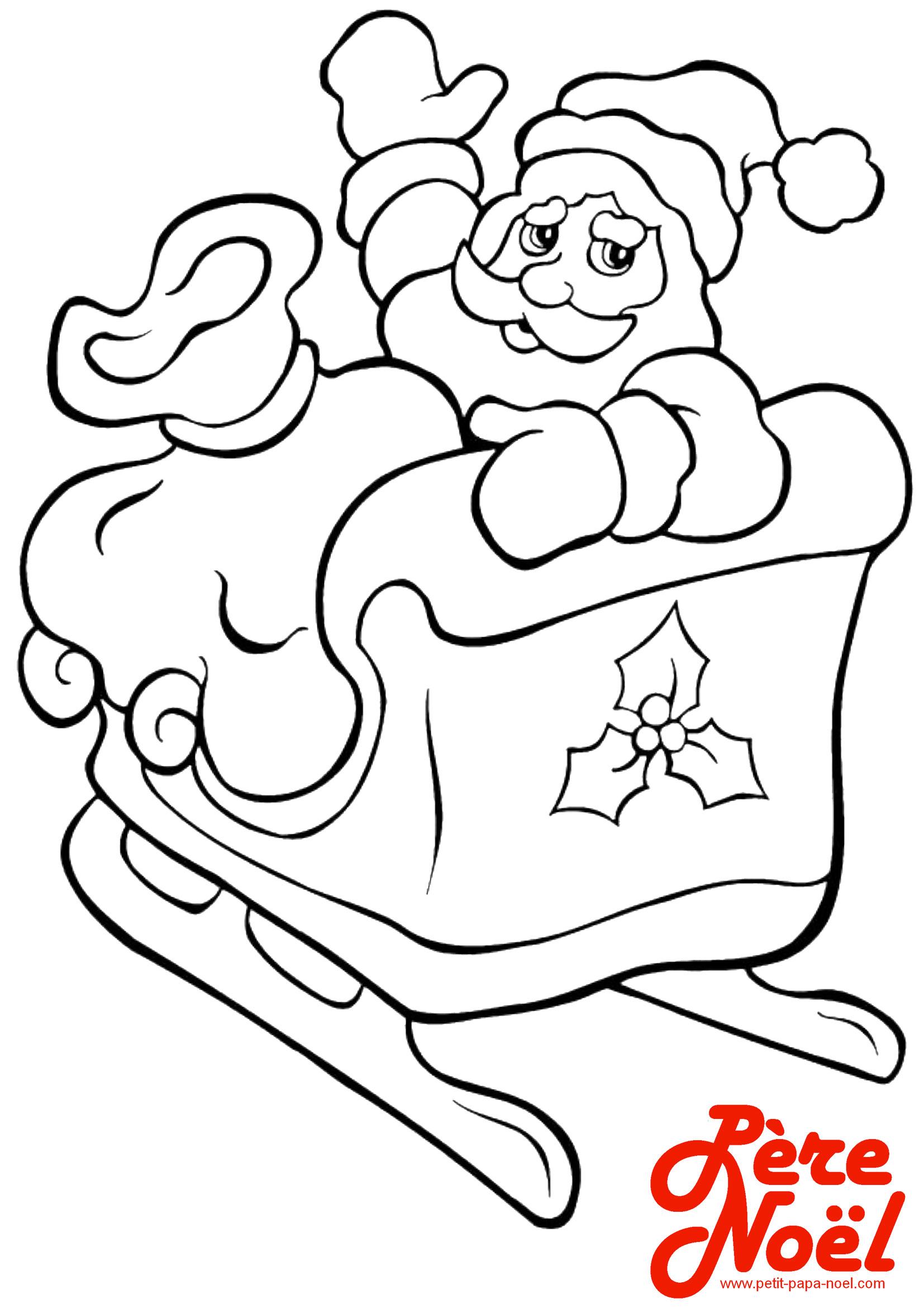 Coloriage : Traîneau du Père Noël   Petit Papa Noël