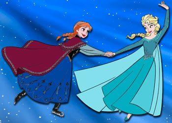 Coloriage : Elsa patine avec Anna